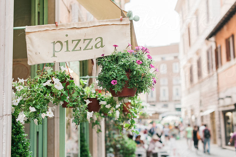 Pizza Sign and Potted Plants on the Streets of Rome, Italy
